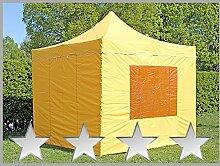 Faltzelt Faltpavillon 3x3m 3x3m gelb mit 4 Seitenteilen Partyzelt Pavillon Verkaufszelt wasserdich