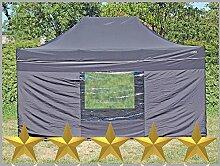 Faltzelt Faltpavillon 3x4,5m 4,5x3m Schwarz mit 4
