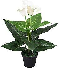 Famehours Künstliche Calla-Lilie mit Topf 45 cm