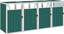 Famehours Mülltonnenbox für 4 Mülltonnen Grün