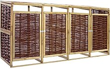 Famehours Mülltonnenbox für 4 Tonnen Kiefernholz