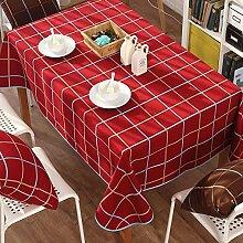 Familie tuch canvas baumwolle moderne einfache tischdecke tee tischdecke england karo-Rot 90x140cm(35x55inch)