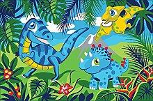 familie24 Dinosaurier Kinderteppich 80 x 120 cm Spielteppich Teppich