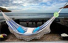 Familien Hängematte Nautica Azul mit Borte aus 100% Baumwolle Tuchhängematte von Denana
