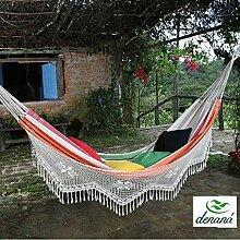 Familien Hängematte Olho de Tigre mit Borte aus 100% Baumwolle Tuchhängematte von Denana