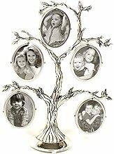 Familienbaum Antik 5Bilder versilbert Familienfotorahmen Geschenk Dekoration fürs Zuhause.