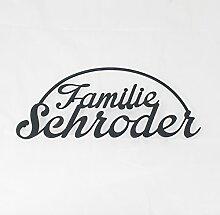 Familienschild Namensschild aus Edelstahl (Design 5) - Thorwa® Design Hausnummer Hausnummernschild mit Wunschschriftzug / Namen / Schriftzug (36cm x 18cm | RAL 7016)