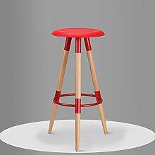 family barstuhl Massivholz Bar Stuhl / High Bar Bar Hocker / einfache Mode Bar Stuhl barhocker aus holz ( Farbe : Rot , größe : 37*78.5cm )