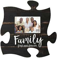 Family First & Forever schwarz Distressed Holz