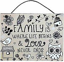 Family Life &Love Eule Metall &Vogel, zum