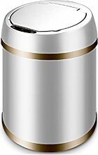Family LOVELY Automatischer Bewegungs-Sensor-Küchen-Abfall-Metallabfall-Abfall-Speicher Mülleimer-Abfall-Papier-Korb für Schlafzimmer, Badezimmer, Büro, (Color : White, Größe : 6L-30*23CM)