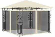 FAMIROSA Pavillon mit Moskitonetz 3x3x2,73 m Creme