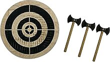 Famkrw Wikinger-Axt-Wurfspiel-Set, Holzpfeil- und