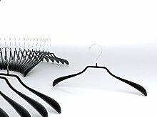 famyShop Metall-Kleiderbügel EXTRA BREITE Auflage, gummiert, beschichtet rutschfest, schwarz, drehbarer Haken, 10 Stück, ca. 40cm x 19cm