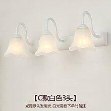 FAN4ZAME European Led Badezimmer Vanity Lamp Objektiv Scheinwerfer Toilette Wasserdichte Bad Schrank Lampe American C Absatz 3 Kopf Weiß