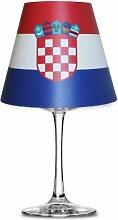 Fanartikel Fußball WM 2014 Brasilien Lampenschirm Glas (Weinglas) Teelicht #1085 (Kroatien)