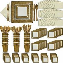 Fancy Einweg Gold & Ivory Geschirr