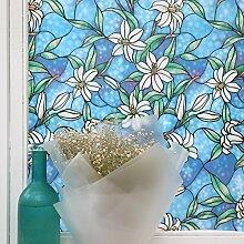 fancy-fix Blue Orchidee Sichtschutz Vinyl gebeizt Glas Deko Fenster Film