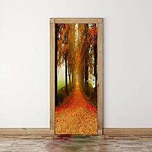 FANGDUHUI 3D Türaufkleber,Ahorn Baum Wald
