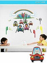 FangKuai FKAL0288 Cartoon Wandaufkleber Kinder Raum Hintergrund Wand Wasserdicht Dekorative Wand Aufkleber Aufkleber Auto Tier