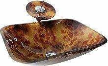 FANGYAO Gehärtetes Glaswaschbecken Waschbecken/Waschgang auf der Kunst-Becken (T12 * L510 * W360 * 135mm) , basin + faucet and accessories