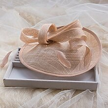 FANGYAO Koreanischen Bogen Braut Hut kreisförmige Netz Haar Accessoires Haarspange Feder , meat pink
