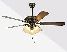 FANJIANI Amerikanischer Retro- Esszimmer-Deckenventilator beleuchtet europäischen antiken elektrischen Ventilator-Lampen-Wohnzimmer-LED Ventilator-Leuchter (Farbe : Wall control-42 inch)