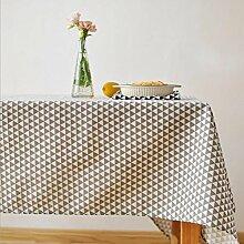 fanjow® Baumwolle Leinen Tischdecke Rechteck Dekor Platte Staubfrei, Tisch Cover für Küche Esszimmer Pub Tabletop Dekoration, Baumwoll-Leinen, Grey Triangle, 140cm*220cm