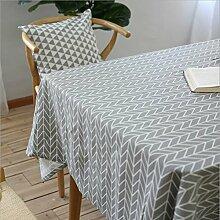 fanjow® Baumwolle Leinen Tischdecke Rechteck Dekor Platte Staubfrei, Tisch Cover für Küche Esszimmer Pub Tabletop Dekoration, Baumwoll-Leinen, Grey Geometry, 140cm*250cm