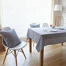 fanjow® Baumwolle Leinen Tischdecke Rechteck Dekor Platte Staubfrei, Tisch Cover für Küche Esszimmer Pub Tabletop Dekoration, Baumwoll-Leinen, blau gestreift, 140cm*250cm