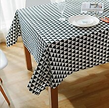 fanjow® Baumwolle Leinen Tischdecke Rechteck Dekor Platte Staubfrei, Tisch Cover für Küche Esszimmer Pub Tabletop Dekoration, Baumwoll-Leinen, Black Triangle, 140cm*180cm