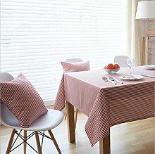 fanjow® Baumwolle Leinen Tischdecke Rechteck Dekor Platte Staubfrei, Tisch Cover für Küche Esszimmer Pub Tabletop Dekoration, Baumwoll-Leinen, rote streifen, 140cm*250cm