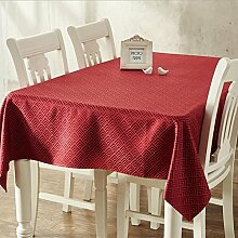 fanjow® Jacquard Rechteck Tischdecke Geometrie Print Esstisch Bezug schmutzabweisend Polyester Tischdecke für Restaurant Küche Party Bankett, Red Grid, 137cm*220cm