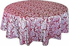 fanjow® Polyester-Jacquard Tischdecke-Tisch Bezug für Küche Essen länglich/rechteckig Wasserdicht schmutzabweisend auslaufsicherer Tischdecke, 100 % Polyester, Rot/Blumenmuster, 178 cm