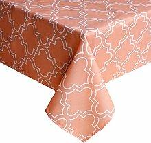 """fanjow® Polyester Rechteck Tischdecke Floral Print Tischdecke wasserdicht auslaufsicher Tischdecke für Restaurant Küche Esszimmer Party Bankett, 100 % Polyester, Orange, 52""""Wx70""""L"""