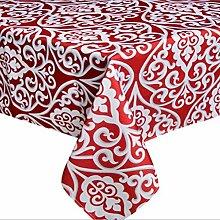 """fanjow® Polyester Rechteck Tischdecke Floral Print Tischdecke wasserdicht auslaufsicher Tischdecke für Restaurant Küche Esszimmer Party Bankett, 100 % Polyester, rot, 60""""Wx120""""L"""