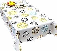 """fanjow® PVC Tischdecke abwischbar Tisch Bezug Country Style Kunststoff Tischdecke öldicht Wasserdicht Tischdecke-auslaufsicher, Colorful Circle, 137cm*137cm/53.94""""*53.94"""