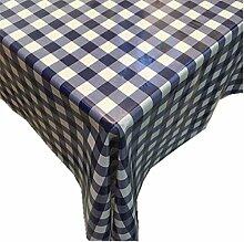 """fanjow® PVC Tischdecke abwischbar Tisch Bezug Country Style Kunststoff Tischdecke öldicht Wasserdicht Tischdecke-auslaufsicher, Blau kariert, 137cm*180cm/53.94""""*70.87"""