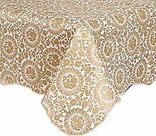Fanjow® PVC-Tischdecke, Flanell-Rückseite, Kunststoff-Tischdecke, Blumenmuster, wasserdicht, ölfest, Esstisch-Bezug, waschbarer Tischschutz, Gilding Flower, 106cm*152cm
