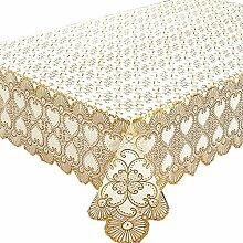 fanjow® PVC Vergoldung Tischdecke hitzebeständig Tisch Bezug länglichen Tisch Runner Floral öldicht Wasserdicht schmutzabweisend abwischbare Tischdecke Luxury Style