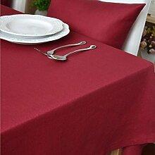 fanjow® Tischdecke aus Baumwolle Solid Rechteckige Tischdecke Wohnzimmer Tisch Staubfrei, Tisch Cover für Küche Eßzimmer Pub Tabletop Dekoration, baumwolle, rot, 140cm*220cm