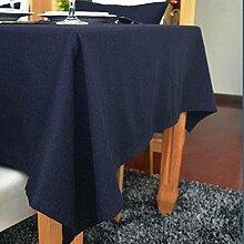 fanjow® Tischdecke aus Baumwolle Solid Rechteckige Tischdecke Wohnzimmer Tisch Staubfrei, Tisch Cover für Küche Eßzimmer Pub Tabletop Dekoration, baumwolle, marineblau, 140cm*250cm
