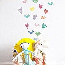 FANPING 6Pcs Wand-Aufkleber Liebes-Herz-für