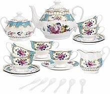 fanquare 15 Stück Englisch Türkis Porzellan Tee
