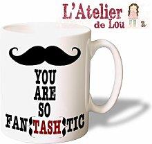 Fantashtic Moustache Schnurrbart keramisch Mug Tasse Kaffeebecher - Originelle Geschenkidee - Spülmaschinefes