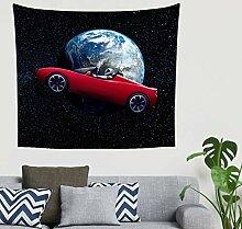 Fantasie Astronaut Fahren Rot Auto in der