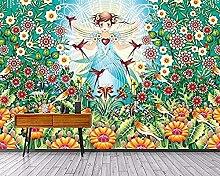 Fantasie Blume Vogel Pflanze Mädchen Wallpaper