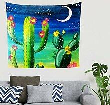 Fantasie Grün Kaktus Mond Sternenklarer Himmel