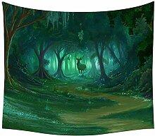 Fantastische Elch Wald Wandteppich Böhmisch