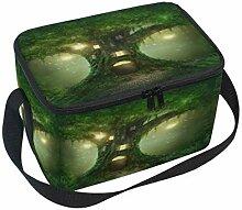 Fantasy Baum Haus im Wald Lunchbox-Tasche, grün,